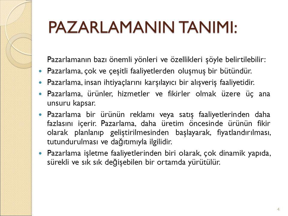 PAZARLAMANIN TANIMI: Pazarlamanın bazı önemli yönleri ve özellikleri şöyle belirtilebilir: