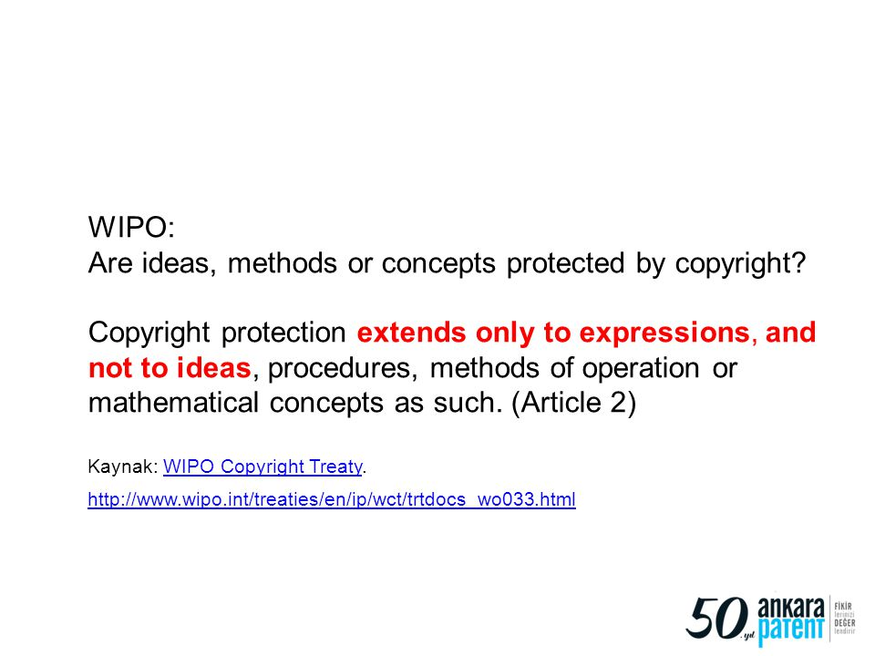 Are ideas, methods or concepts protected by copyright