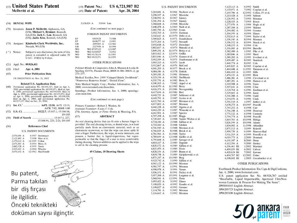 Bu patent, Parma takılan. bir diş fırçası. ile ilgilidir.