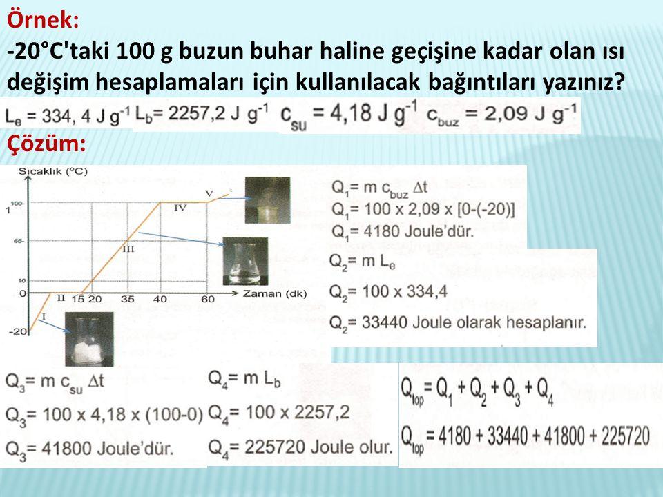 Örnek: -20°C taki 100 g buzun buhar haline geçişine kadar olan ısı değişim hesaplamaları için kullanılacak bağıntıları yazınız