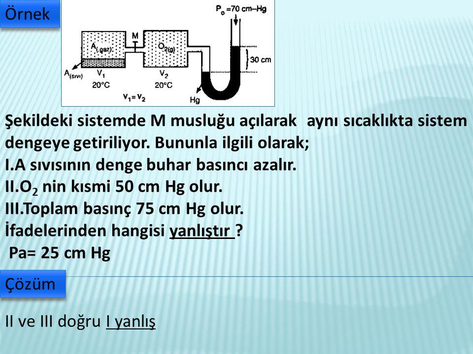 Örnek Şekildeki sistemde M musluğu açılarak aynı sıcaklıkta sistem dengeye getiriliyor. Bununla ilgili olarak;