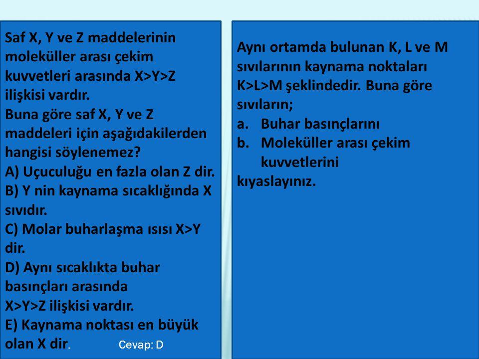 Saf X, Y ve Z maddelerinin moleküller arası çekim kuvvetleri arasında X>Y>Z ilişkisi vardır.