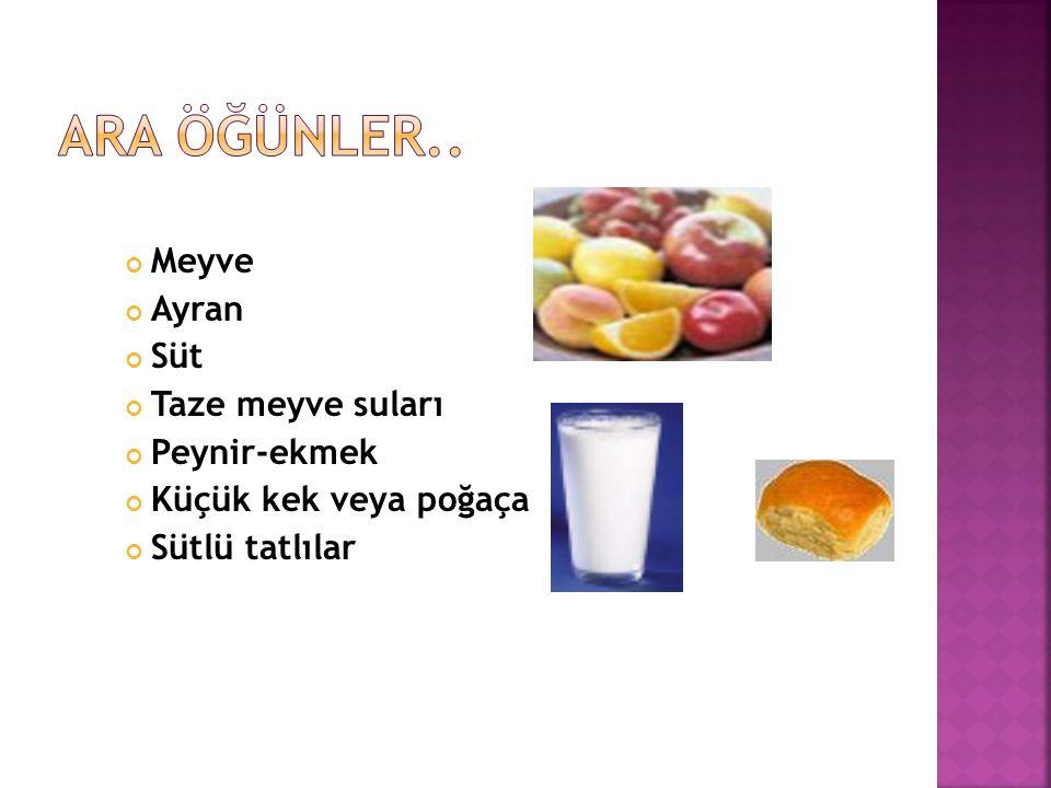 Ara öğünler.. Meyve Ayran Süt Taze meyve suları Peynir-ekmek
