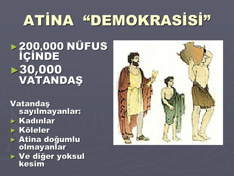 ATİNA DEMOKRASİSİ 30,000 VATANDAŞ 200,000 NÜFUS İÇİNDE