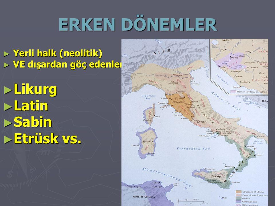 ERKEN DÖNEMLER Likurg Latin Sabin Etrüsk vs. Yerli halk (neolitik)
