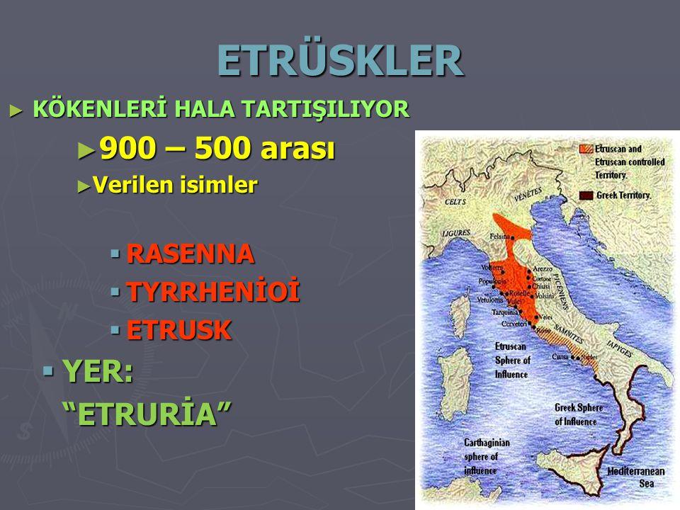 ETRÜSKLER 900 – 500 arası YER: ETRURİA RASENNA TYRRHENİOİ ETRUSK