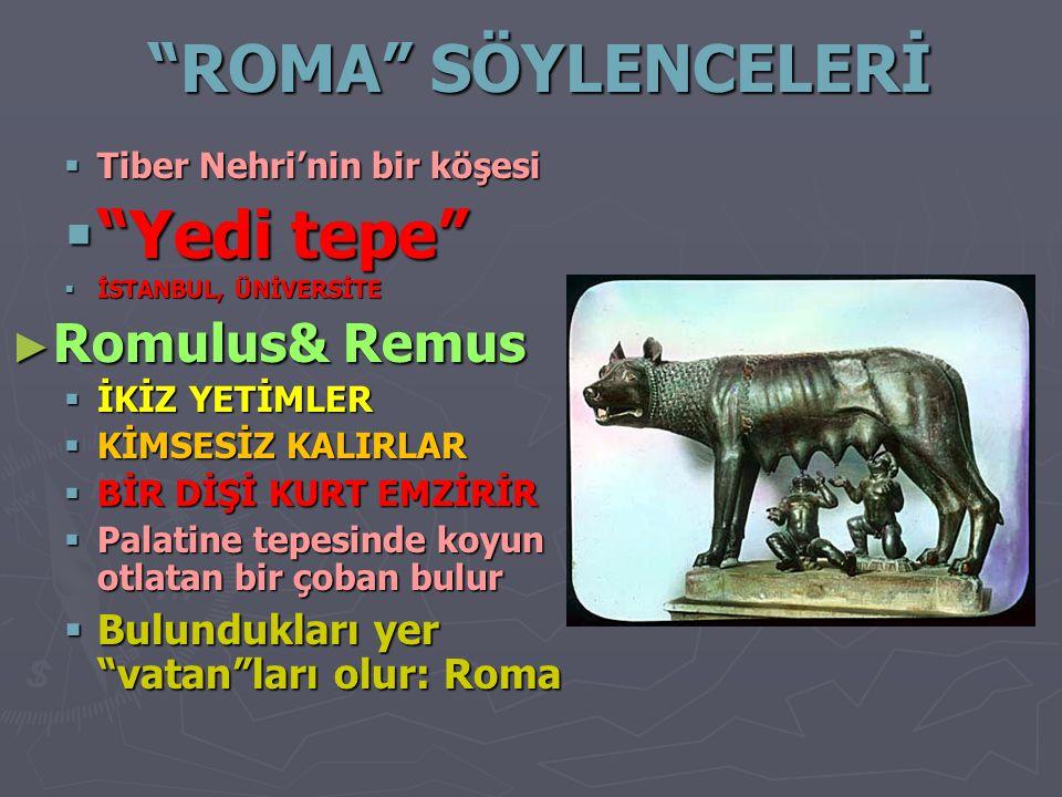 ROMA SÖYLENCELERİ Yedi tepe Romulus& Remus