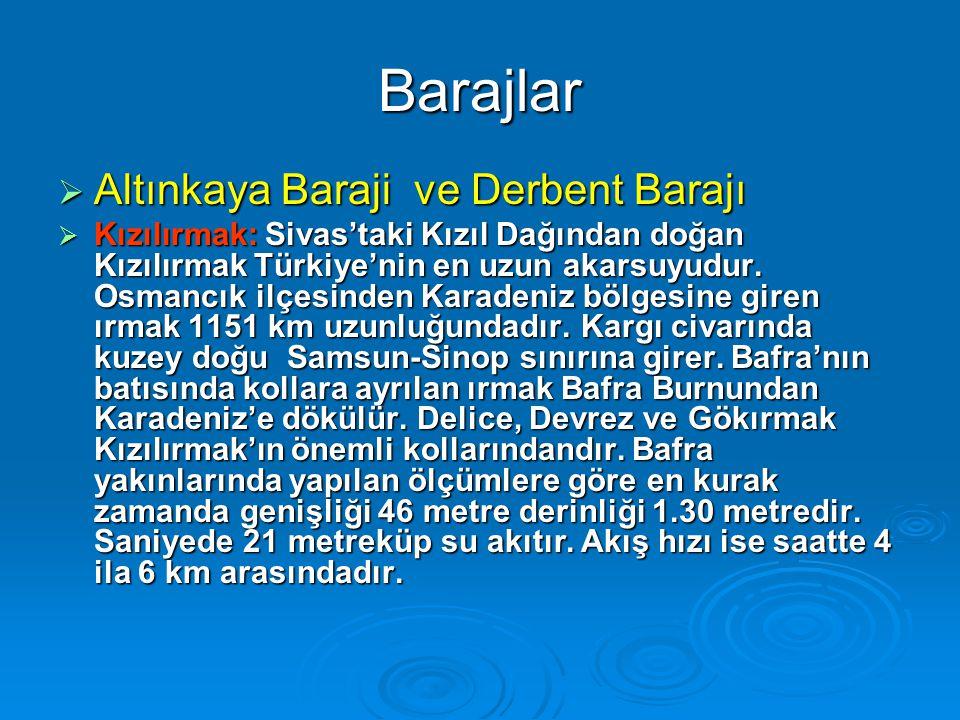 Barajlar Altınkaya Baraji ve Derbent Barajı