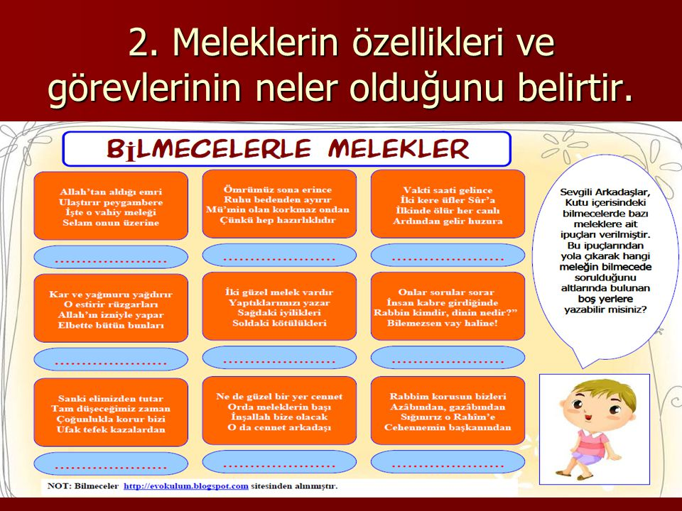 2. Meleklerin özellikleri ve görevlerinin neler olduğunu belirtir.