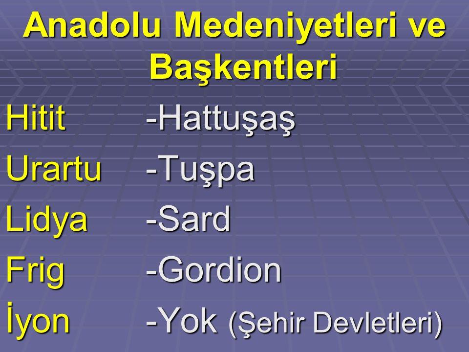 Anadolu Medeniyetleri ve Başkentleri