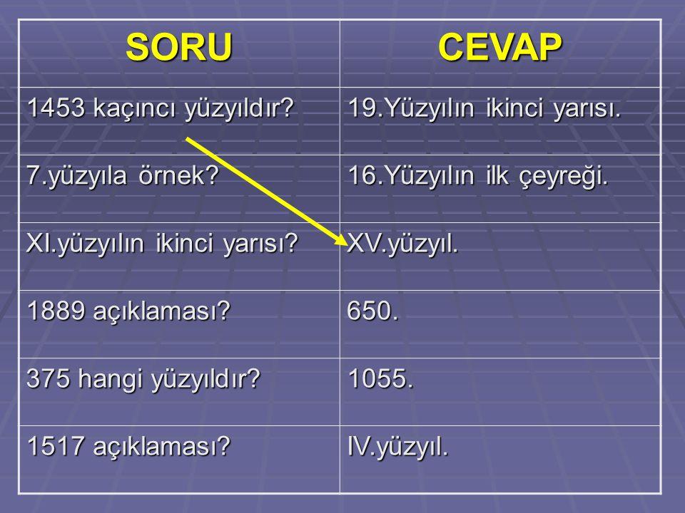 SORU CEVAP 1453 kaçıncı yüzyıldır 19.Yüzyılın ikinci yarısı.