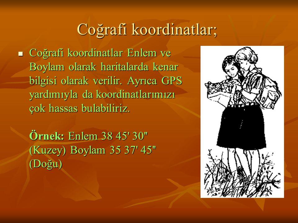 Coğrafi koordinatlar;