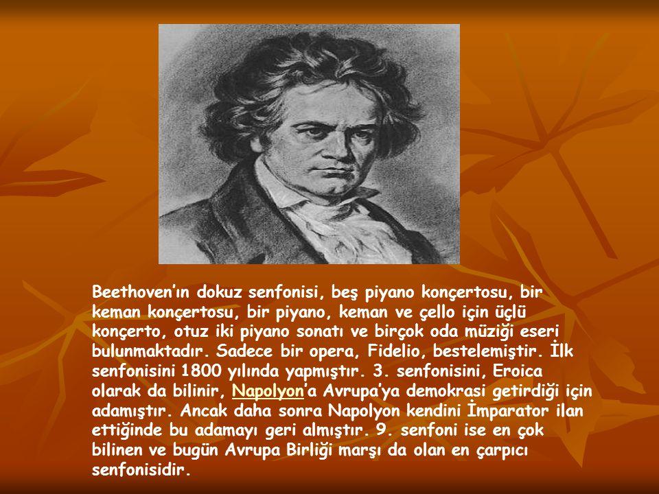 Beethoven'ın dokuz senfonisi, beş piyano konçertosu, bir keman konçertosu, bir piyano, keman ve çello için üçlü konçerto, otuz iki piyano sonatı ve birçok oda müziği eseri bulunmaktadır.