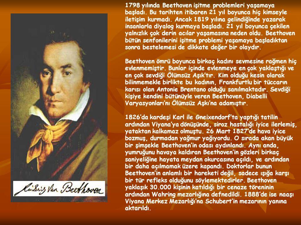 1798 yılında Beethoven işitme problemleri yaşamaya başladı