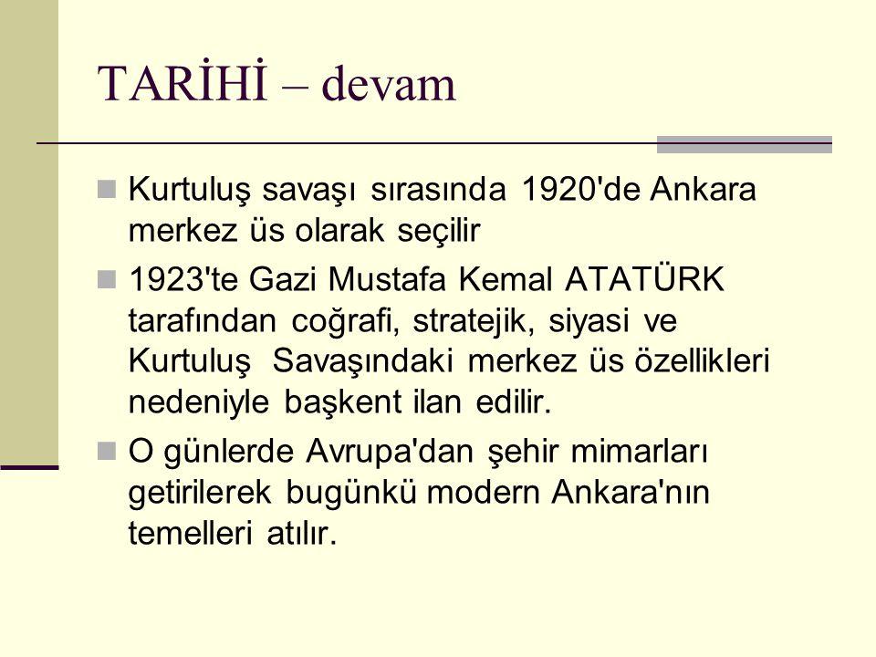 TARİHİ – devam Kurtuluş savaşı sırasında 1920 de Ankara merkez üs olarak seçilir.