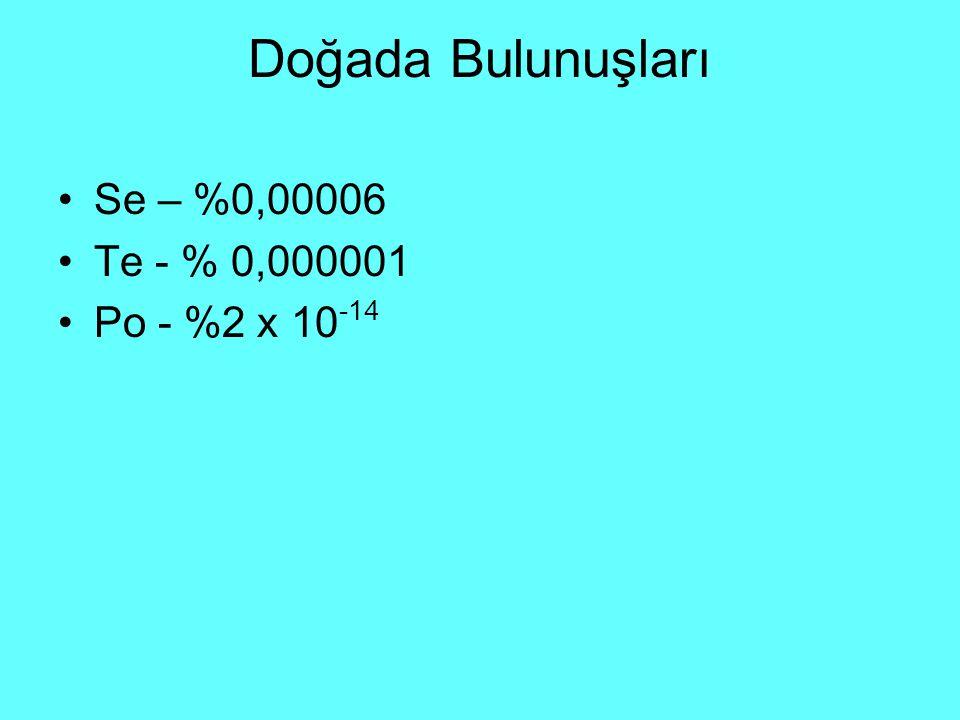 Doğada Bulunuşları Se – %0,00006 Te - % 0,000001 Po - %2 x 10-14