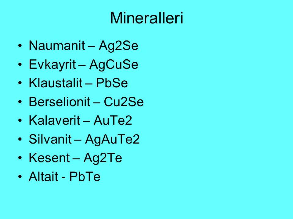 Mineralleri Naumanit – Ag2Se Evkayrit – AgCuSe Klaustalit – PbSe