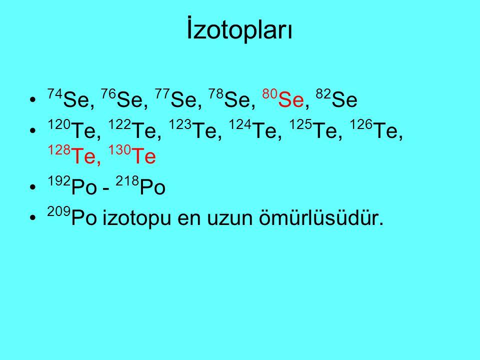 İzotopları 74Se, 76Se, 77Se, 78Se, 80Se, 82Se