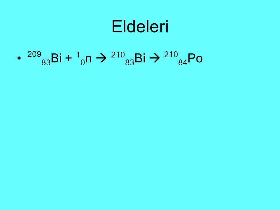 Eldeleri 20983Bi + 10n  21083Bi  21084Po