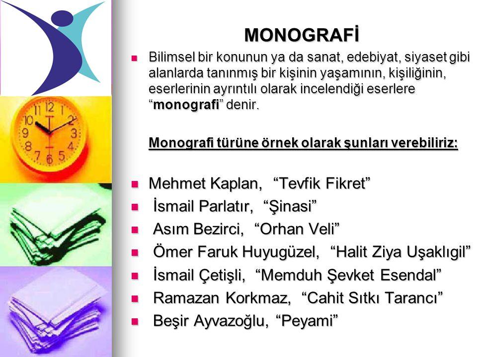 MONOGRAFİ Mehmet Kaplan, Tevfik Fikret İsmail Parlatır, Şinasi