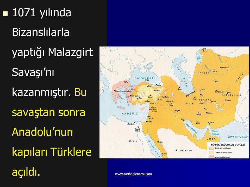 1071 yılında Bizanslılarla yaptığı Malazgirt Savaşı'nı kazanmıştır
