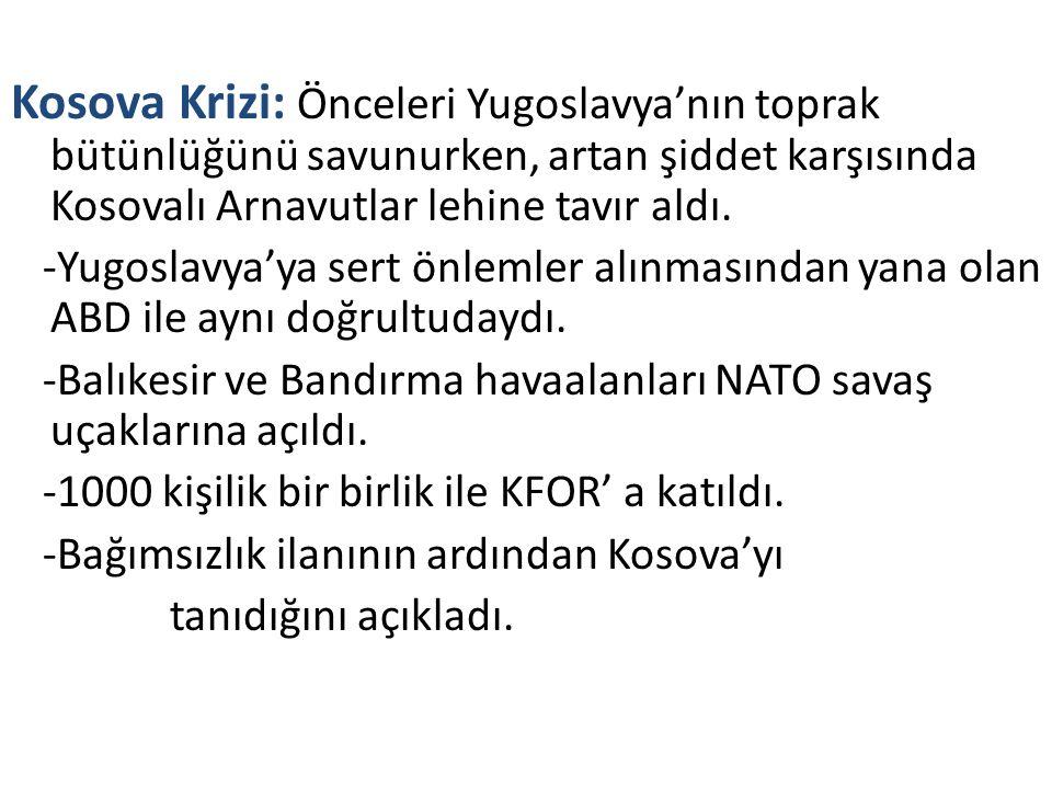 Kosova Krizi: Önceleri Yugoslavya'nın toprak bütünlüğünü savunurken, artan şiddet karşısında Kosovalı Arnavutlar lehine tavır aldı.