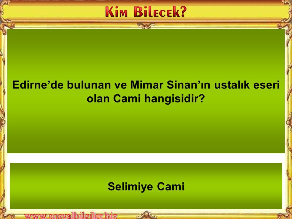 Edirne'de bulunan ve Mimar Sinan'ın ustalık eseri olan Cami hangisidir