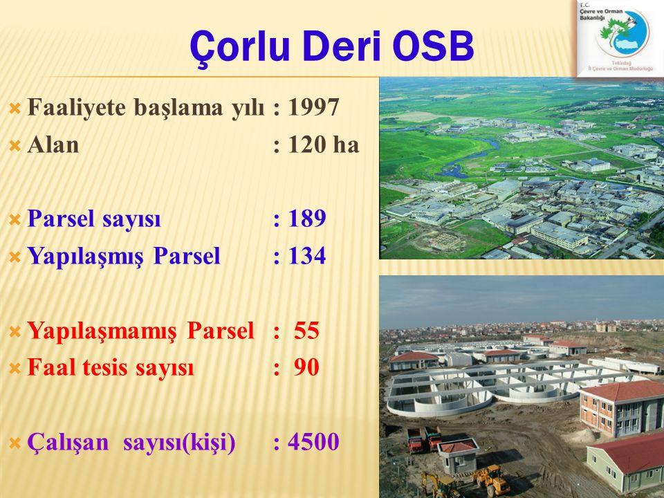 Çorlu Deri OSB Faaliyete başlama yılı : 1997 Alan : 120 ha