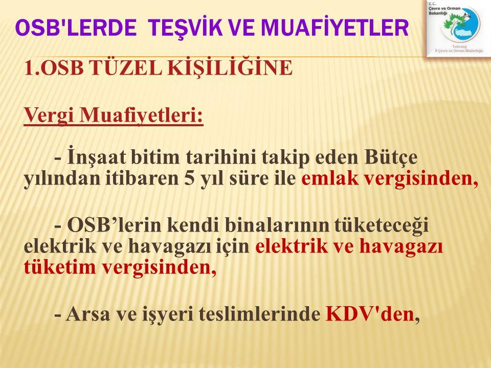 OSB LERDE TEŞVİK VE MUAFİYETLER