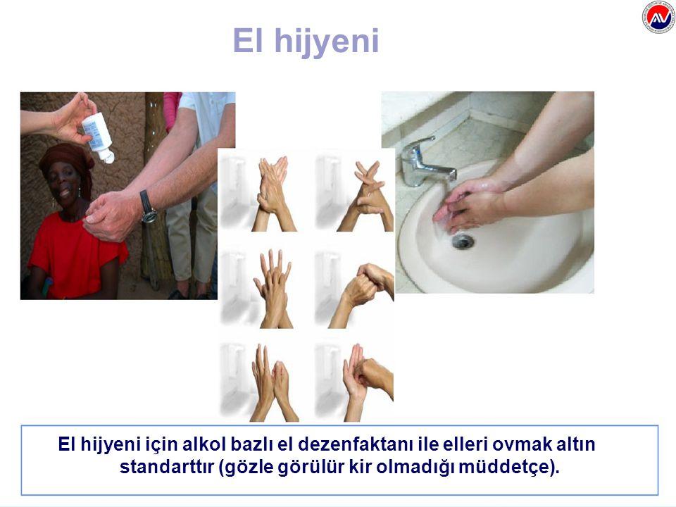 El hijyeni El hijyeni için alkol bazlı el dezenfaktanı ile elleri ovmak altın standarttır (gözle görülür kir olmadığı müddetçe).