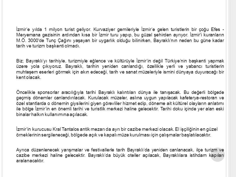 İzmir'e yılda 1 milyon turist geliyor