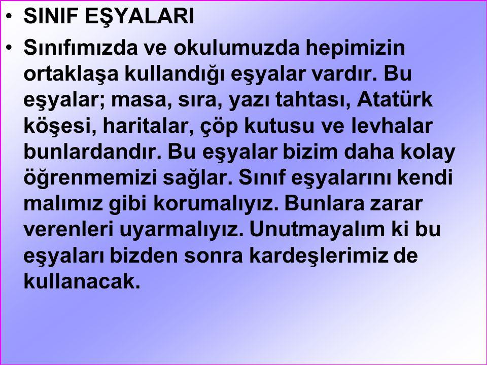 SINIF EŞYALARI
