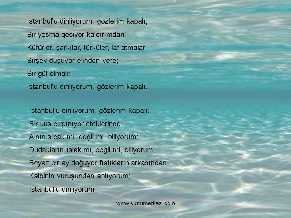 İstanbul u dinliyorum, gözlerim kapalı; Bir yosma geciyor kaldırımdan;