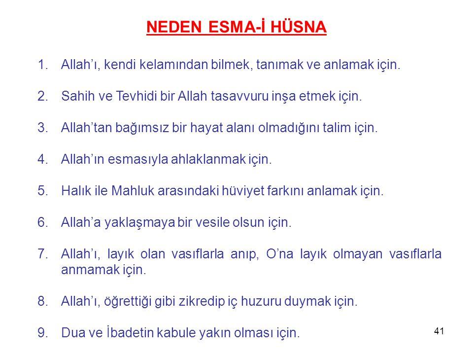NEDEN ESMA-İ HÜSNA Allah'ı, kendi kelamından bilmek, tanımak ve anlamak için. Sahih ve Tevhidi bir Allah tasavvuru inşa etmek için.