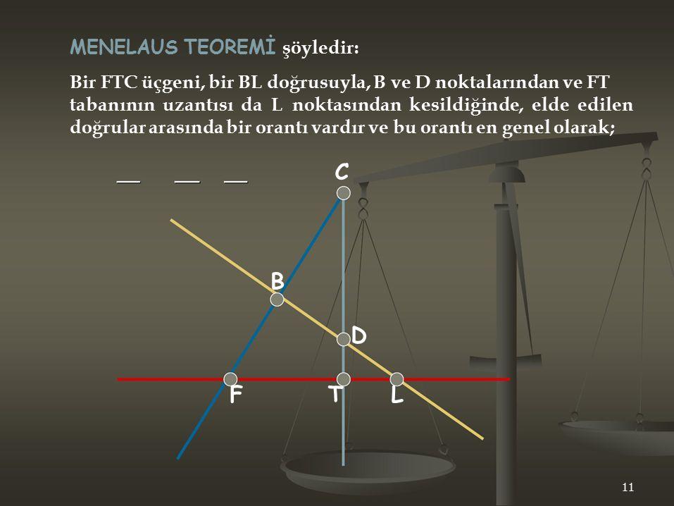 D C F T L MENELAUS TEOREMİ şöyledir: