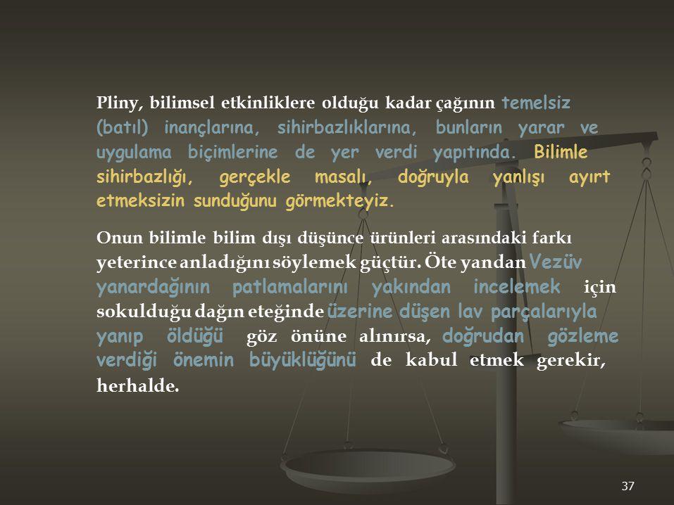 Pliny, bilimsel etkinliklere olduğu kadar çağının temelsiz