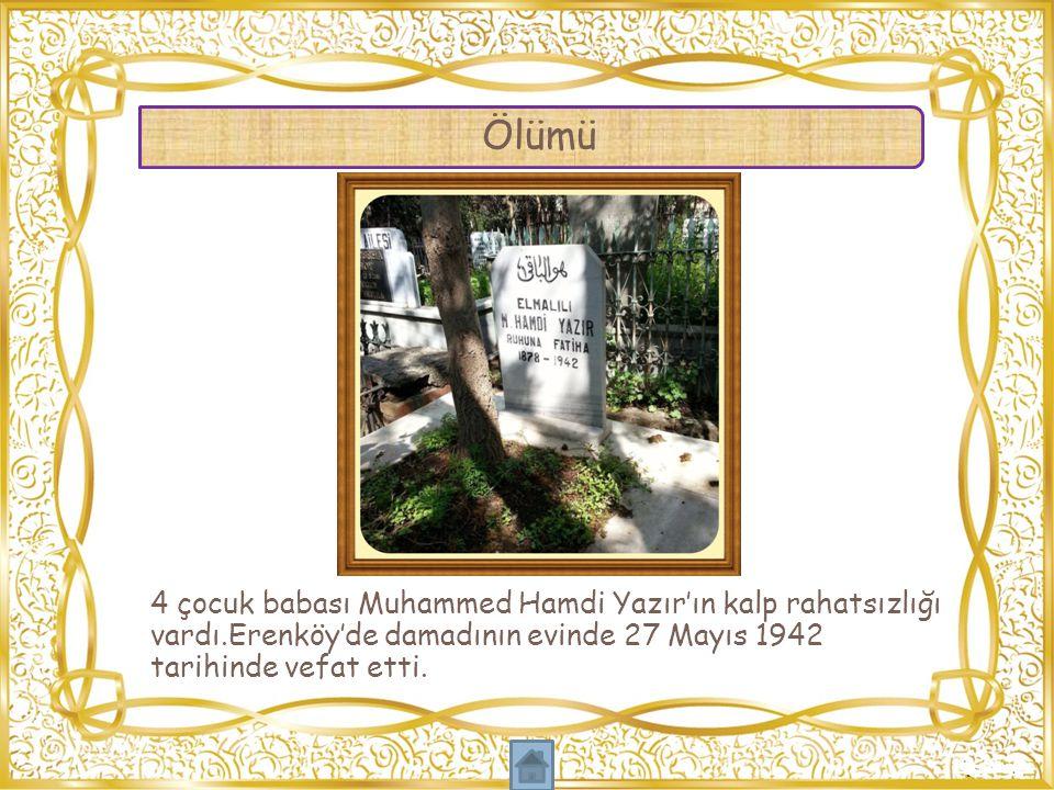 Ölümü 4 çocuk babası Muhammed Hamdi Yazır'ın kalp rahatsızlığı vardı.Erenköy'de damadının evinde 27 Mayıs 1942 tarihinde vefat etti.