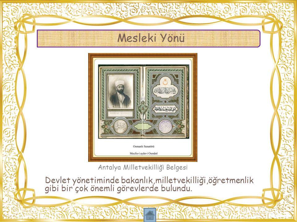 Antalya Milletvekilliği Belgesi