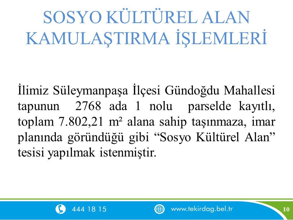 SOSYO KÜLTÜREL ALAN KAMULAŞTIRMA İŞLEMLERİ