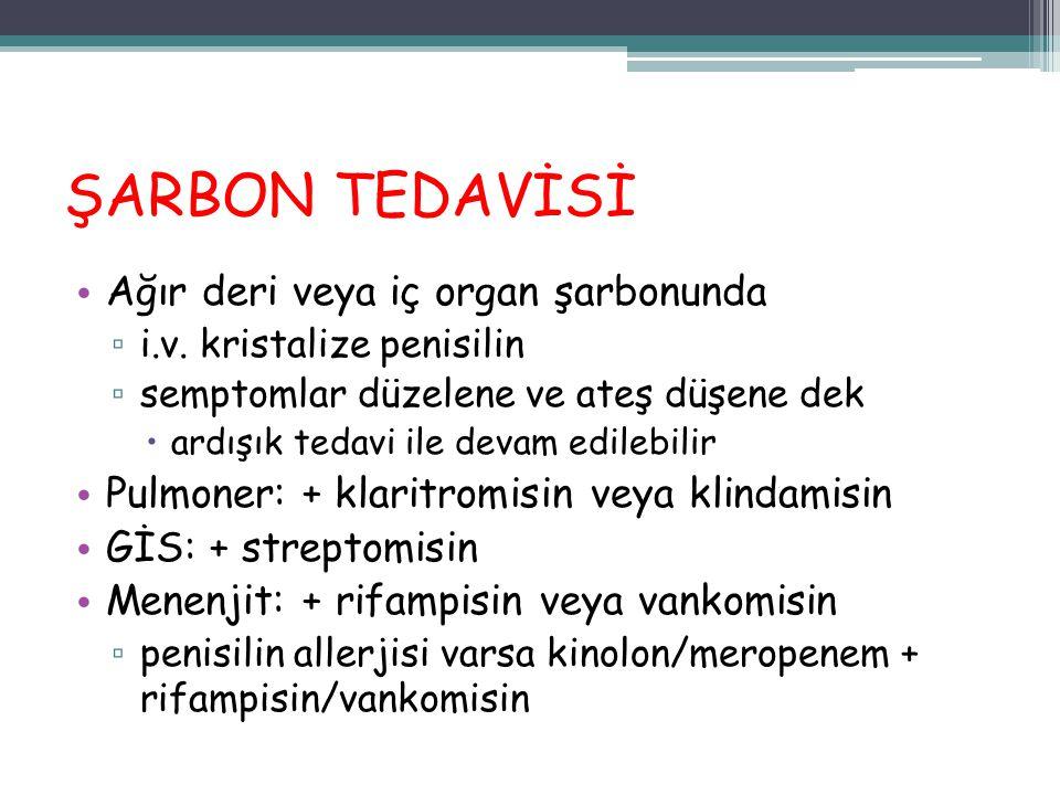 ŞARBON TEDAVİSİ Ağır deri veya iç organ şarbonunda