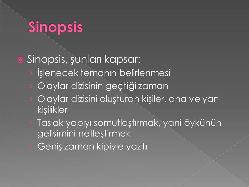 Sinopsis Sinopsis, şunları kapsar: İşlenecek temanın belirlenmesi