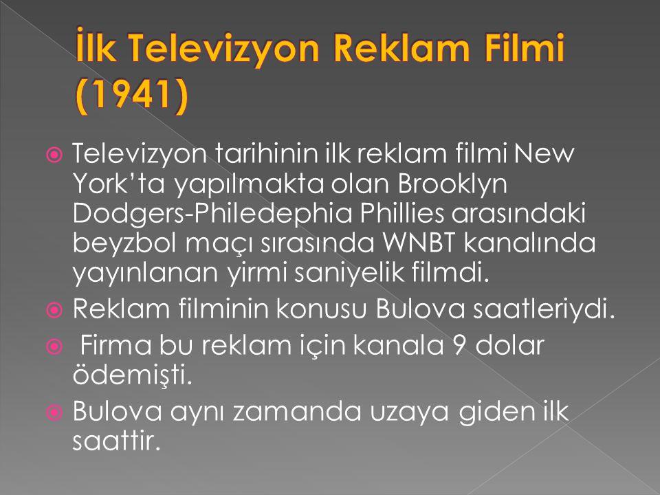 İlk Televizyon Reklam Filmi (1941)