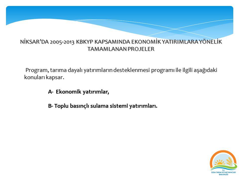 NİKSAR'DA 2005-2013 KBKYP KAPSAMINDA EKONOMİK YATIRIMLARA YÖNELİK TAMAMLANAN PROJELER