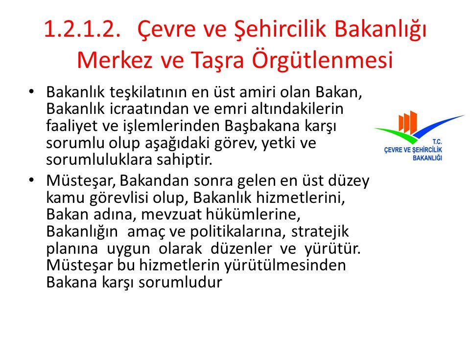 1.2.1.2. Çevre ve Şehircilik Bakanlığı Merkez ve Taşra Örgütlenmesi