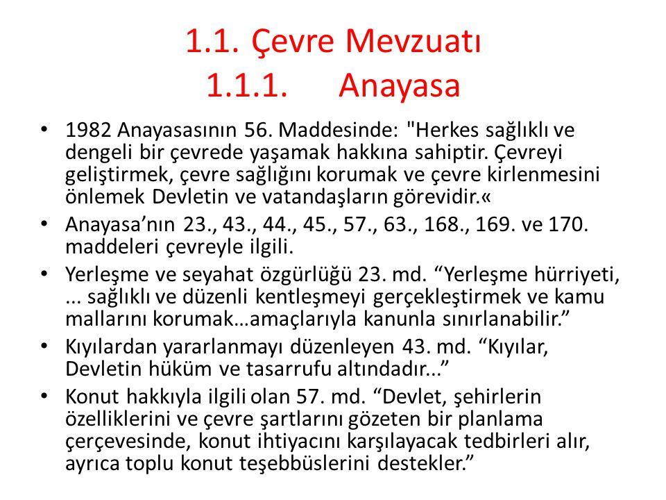 1.1. Çevre Mevzuatı 1.1.1. Anayasa