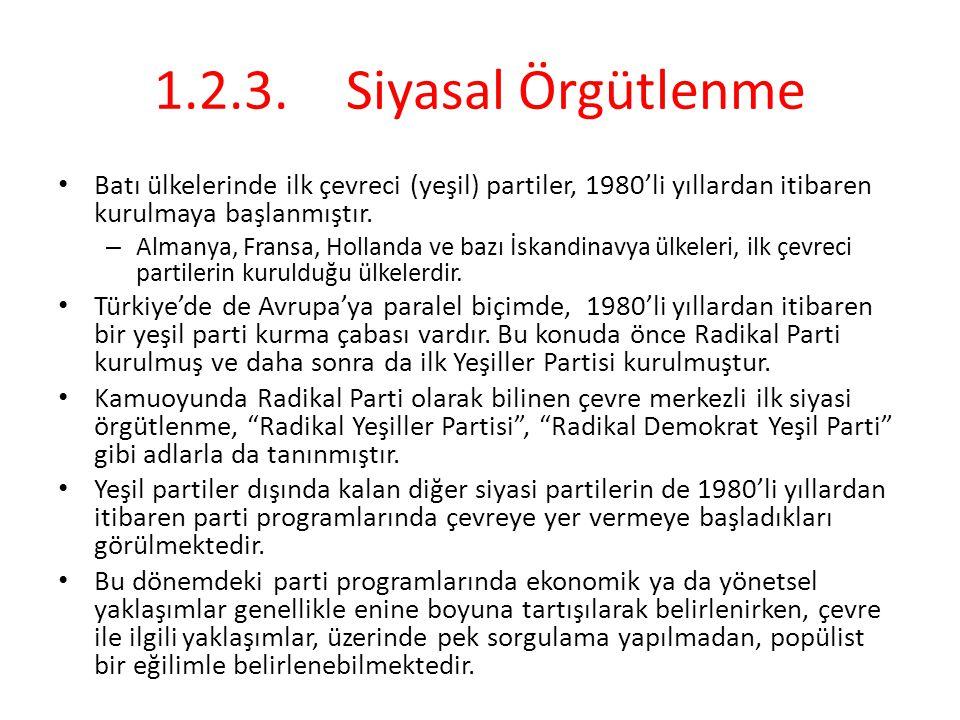 1.2.3. Siyasal Örgütlenme Batı ülkelerinde ilk çevreci (yeşil) partiler, 1980'li yıllardan itibaren kurulmaya başlanmıştır.