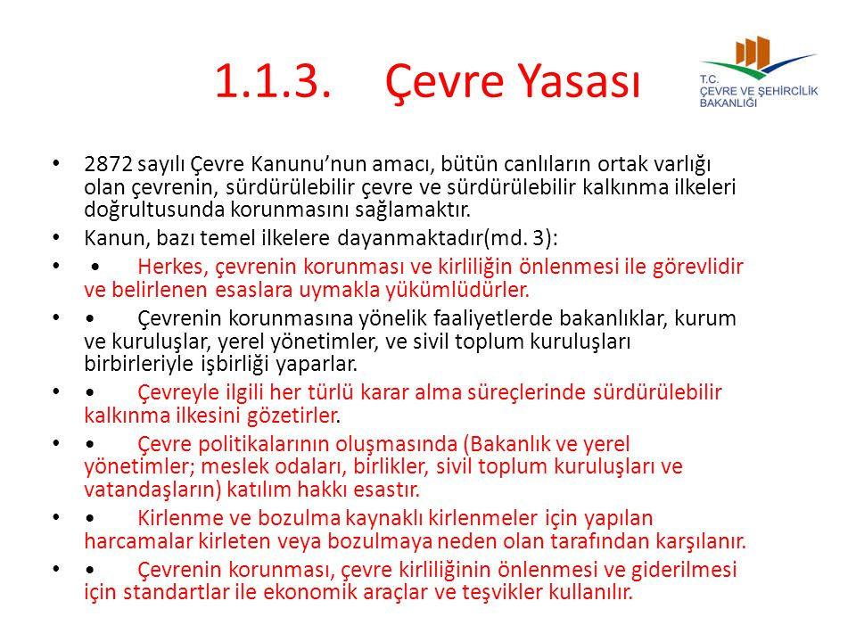 1.1.3. Çevre Yasası