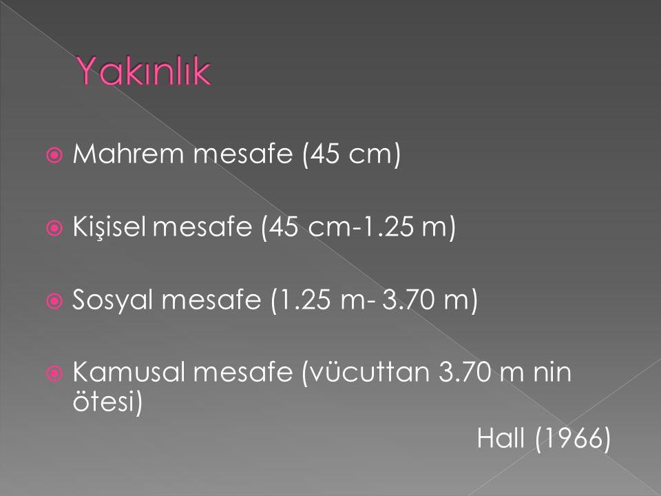 Yakınlık Mahrem mesafe (45 cm) Kişisel mesafe (45 cm-1.25 m)