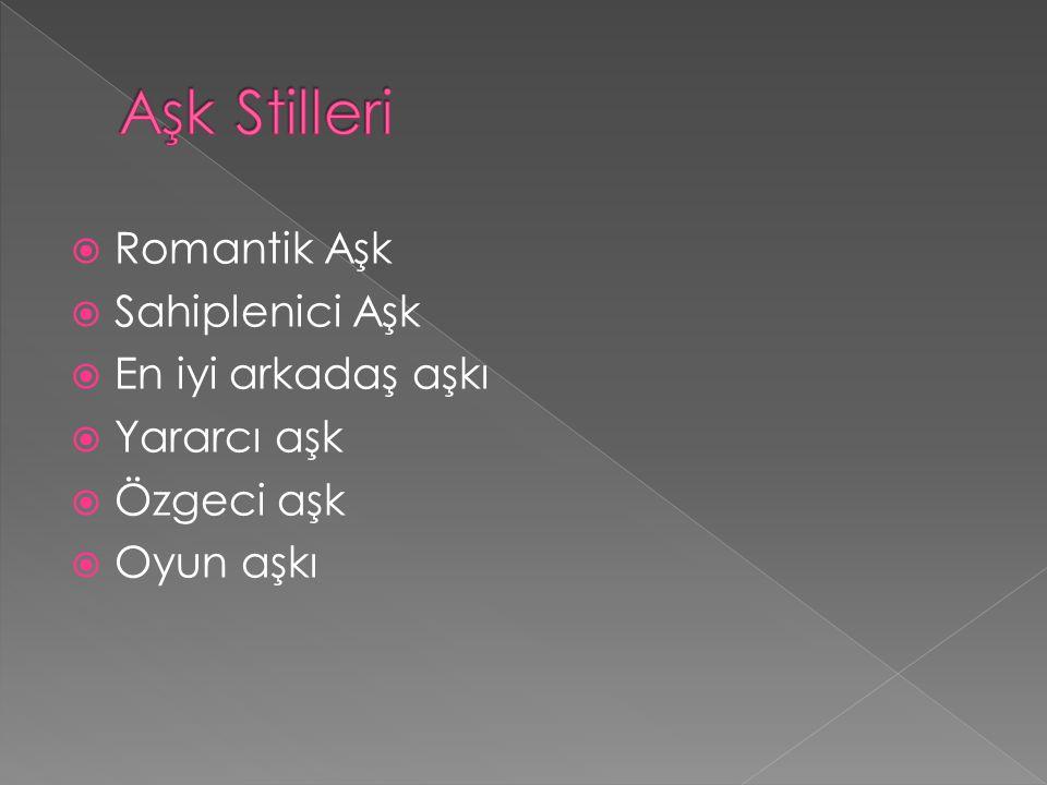 Aşk Stilleri Romantik Aşk Sahiplenici Aşk En iyi arkadaş aşkı