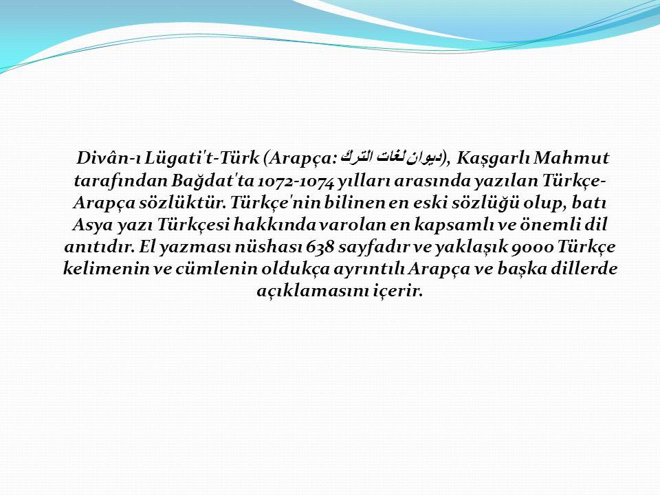 Divân-ı Lügati t-Türk (Arapça: ديوان لغات الترك), Kaşgarlı Mahmut tarafından Bağdat ta 1072-1074 yılları arasında yazılan Türkçe-Arapça sözlüktür.